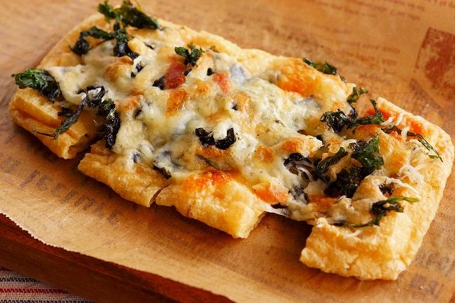 黒ばら海苔とじゃこの油揚げピザ2