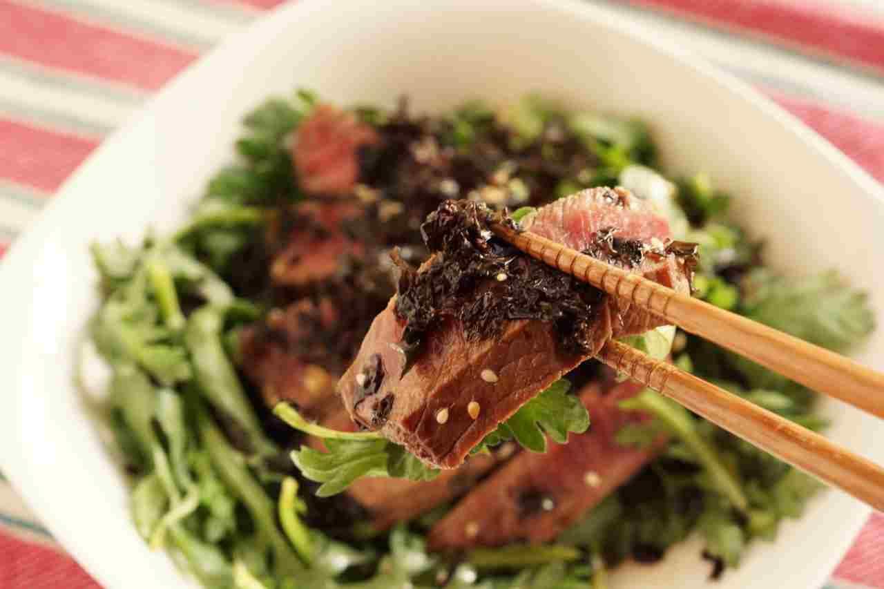 黒ばら海苔と春菊のステーキサラダ (2)